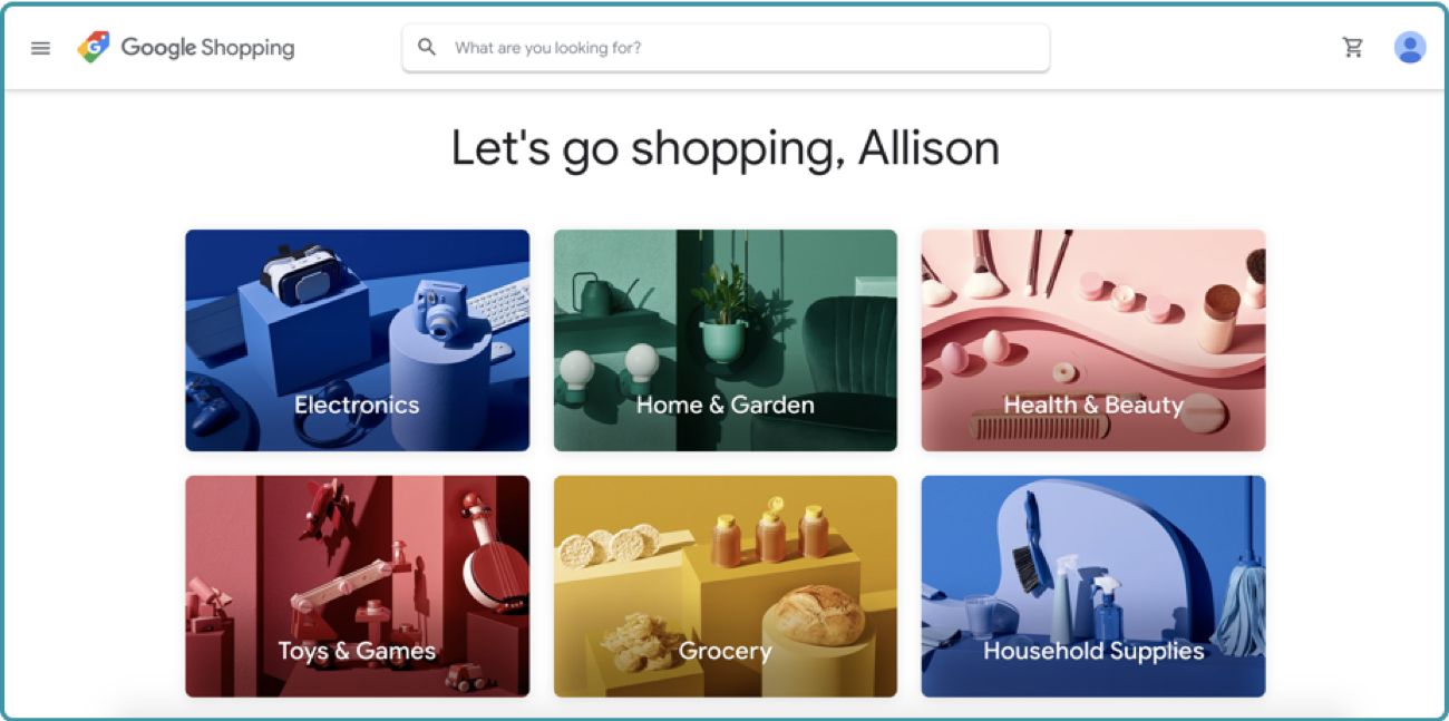 new google shopping homepage