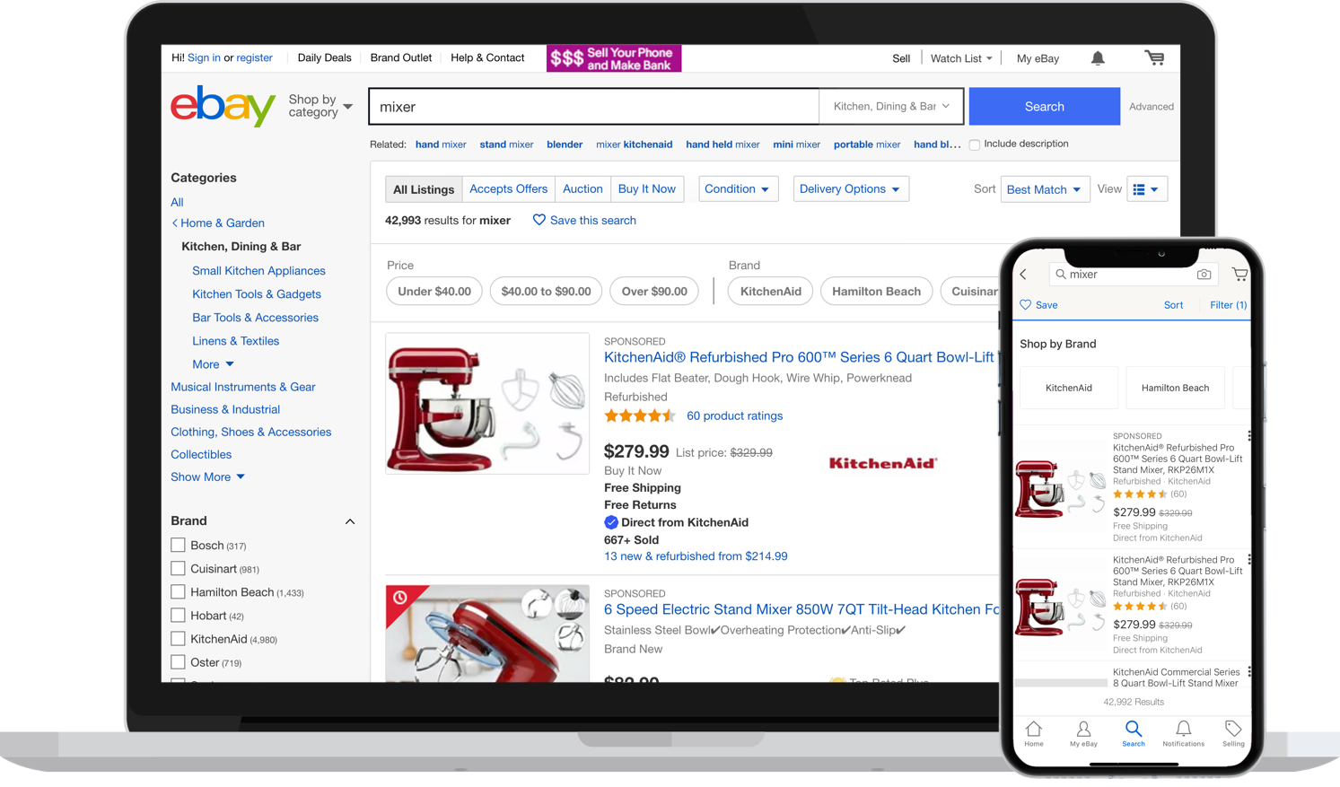 ebay's website versus mobile experiences