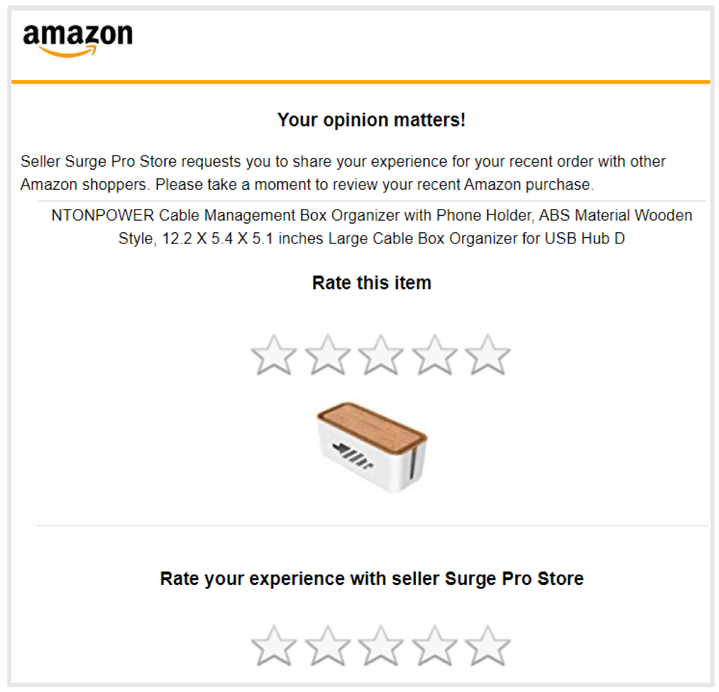 screenshot of an email from amazon asking for product review