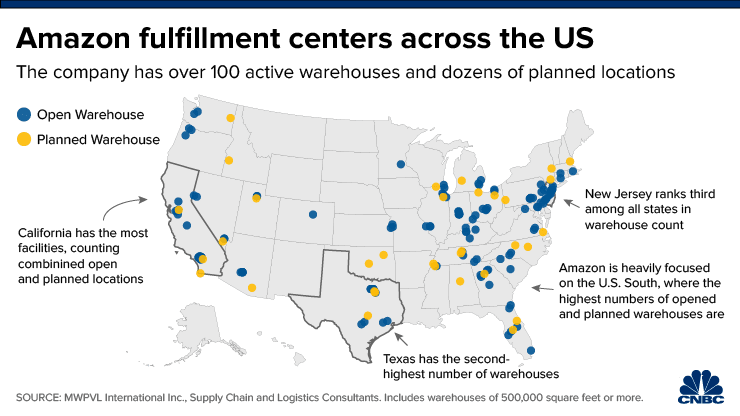 map of all of amazon's fulfillment centers in the u.s.