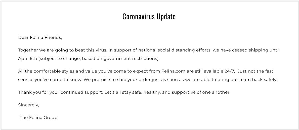 felina memo to customers about coronavirus impact to business