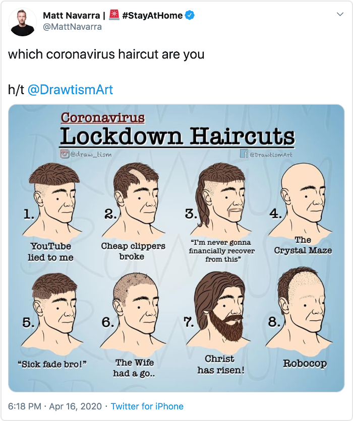 funny tweet about haircuts during coronavirus lockdown