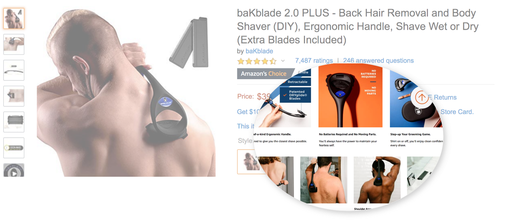 bakblade amazon listing with enhanced brand content