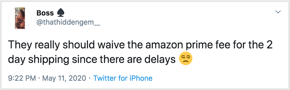 tweet complaining about amazon prime delays
