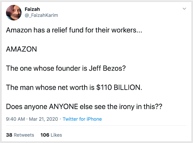 tweet about amazon relief fund donations