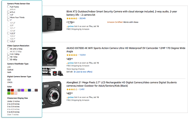 screenshot of amazon results page for cameras highlighting filter bar