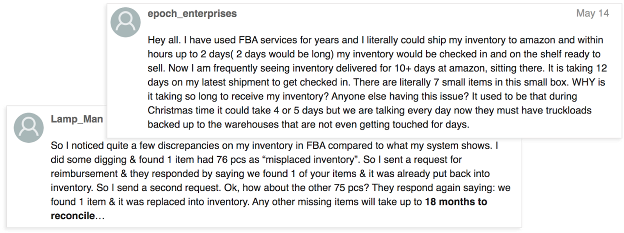 complaints about fba shipments getting lost or delayed