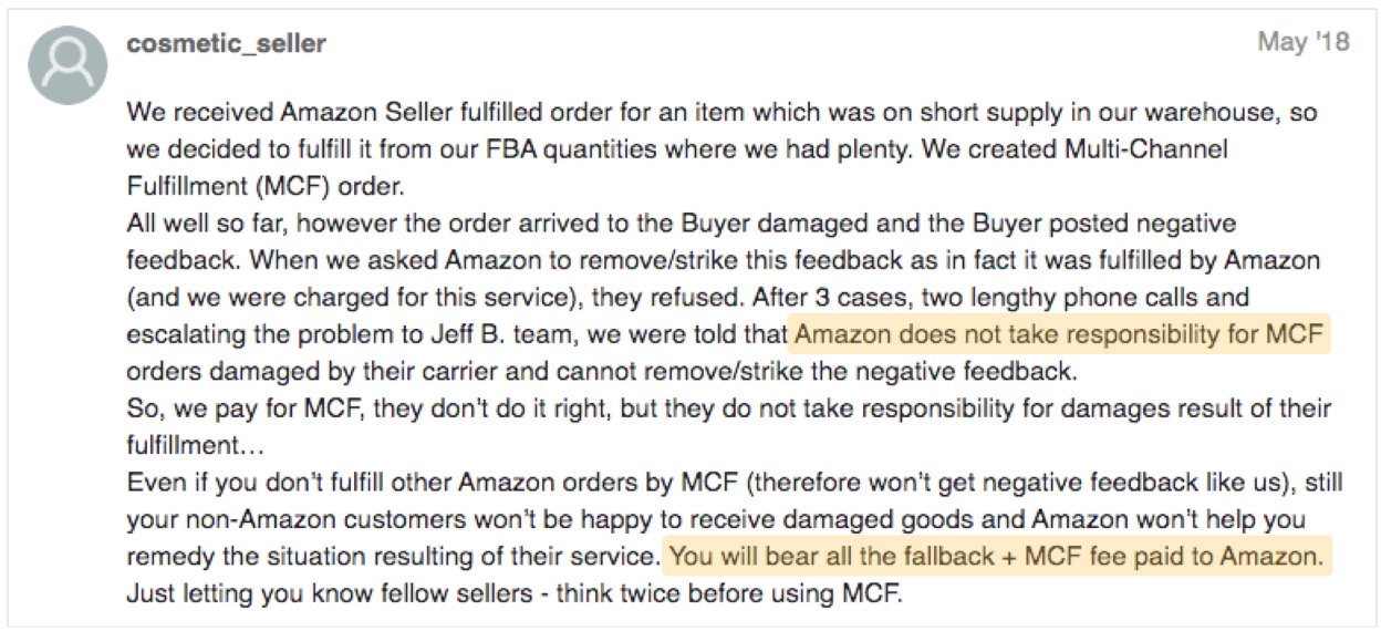 complaint by an fba mcf seller whose items got damaged
