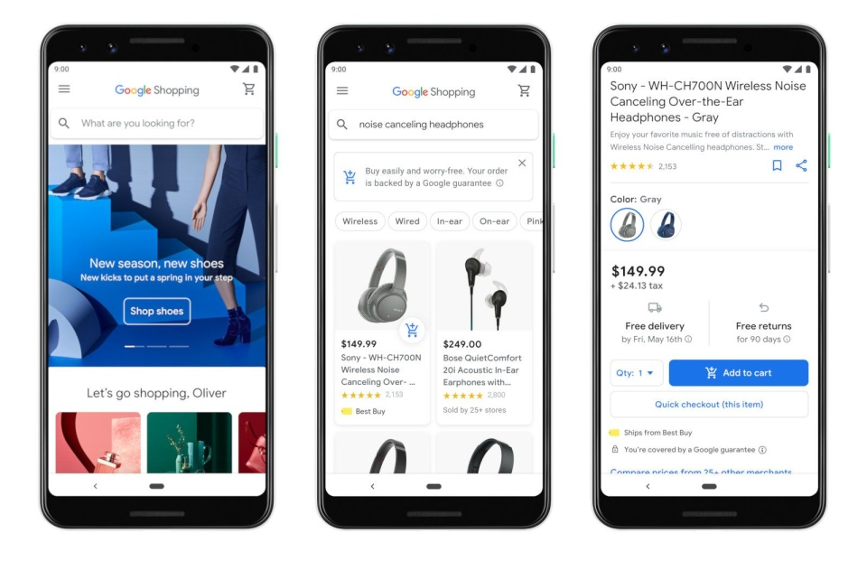 mobile screenshots of Google Shopping