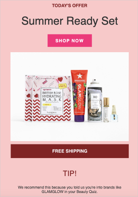 personalized product recommendation by Ipsy