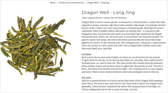 screenshot of a product description written by silk road teas