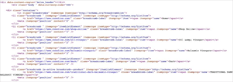 screenshot of schema markup on an ecommerce site
