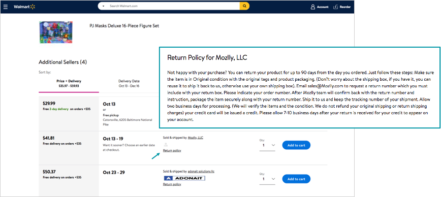walmart return policy comparison screen