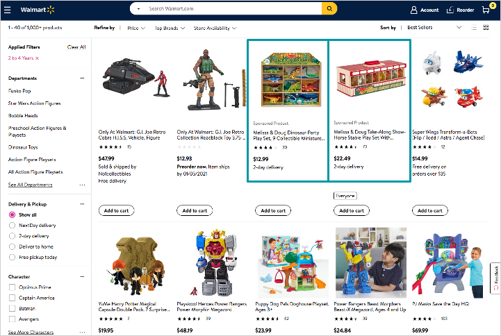 Screenshot showing search in-grid ad placement on Walmart