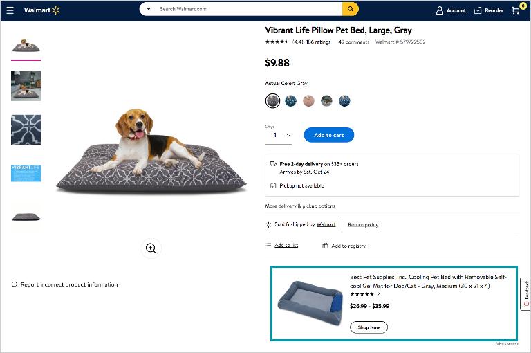 screenshot of buy box banner ad on Walmart