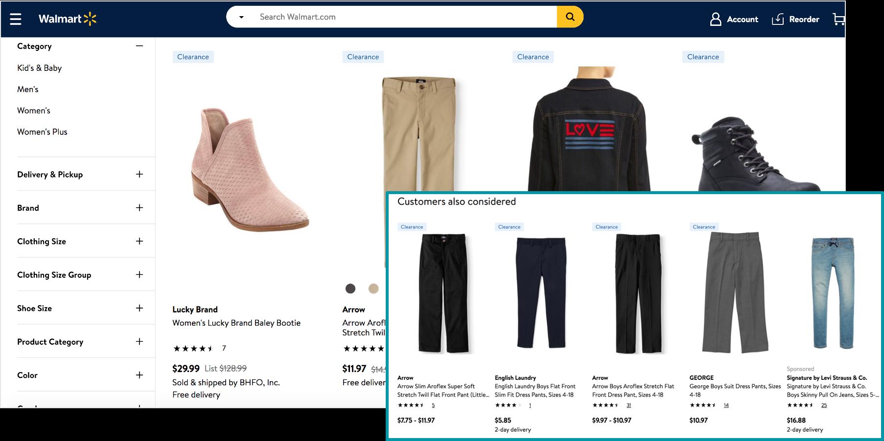 screenshot of clearance items on walmart marketplace