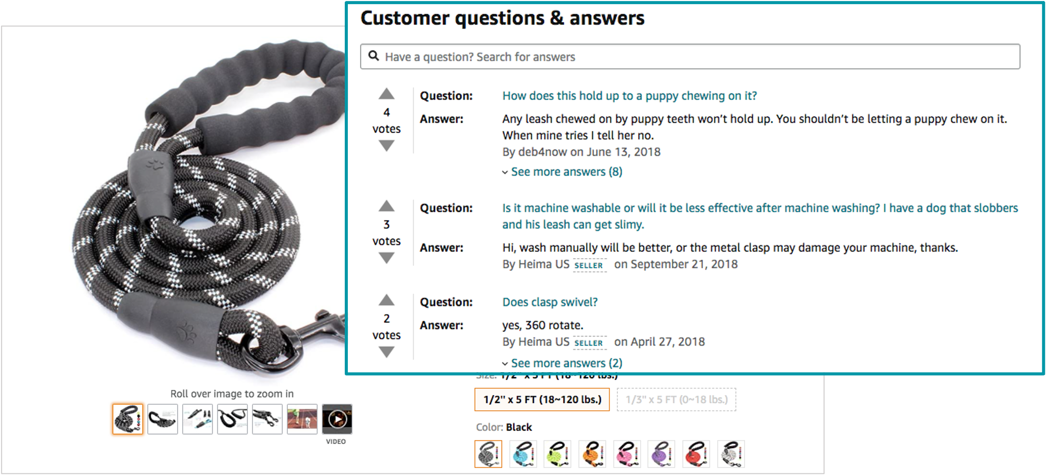 screenshot of an amazon listing with customer questions that can be reused for bullet points