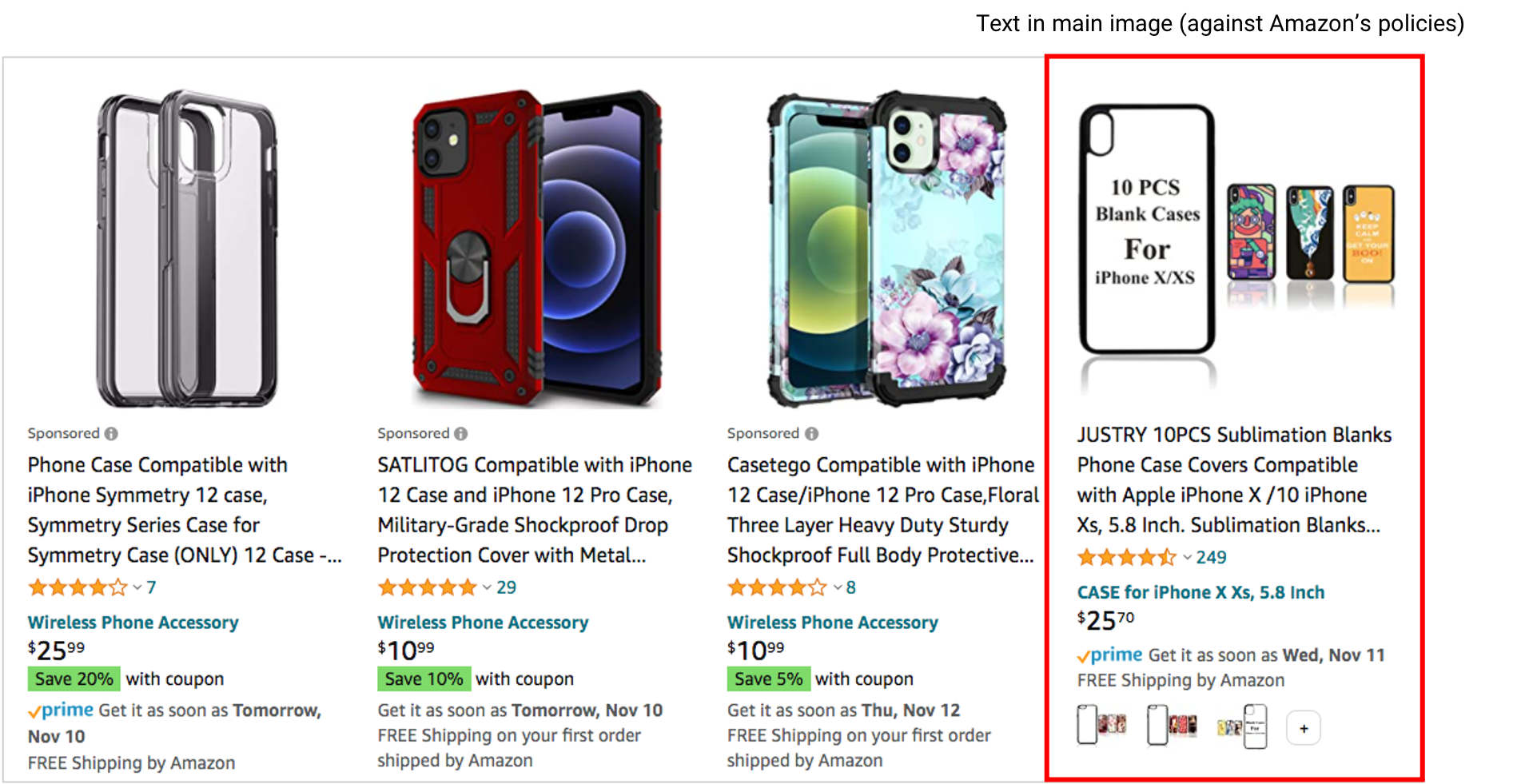 example of an amazon listing with text in the main image
