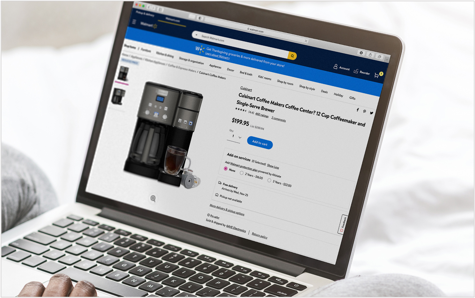 person browsing walmart marketplace for coffee maker