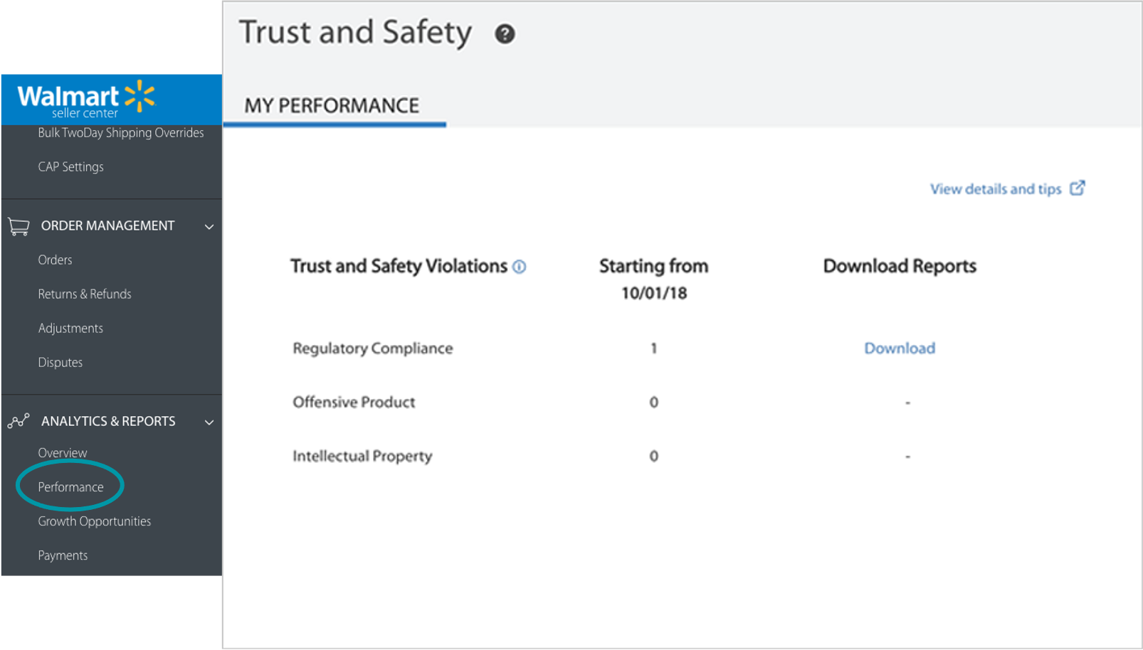screen capture of walmart's trust and safety dashboard
