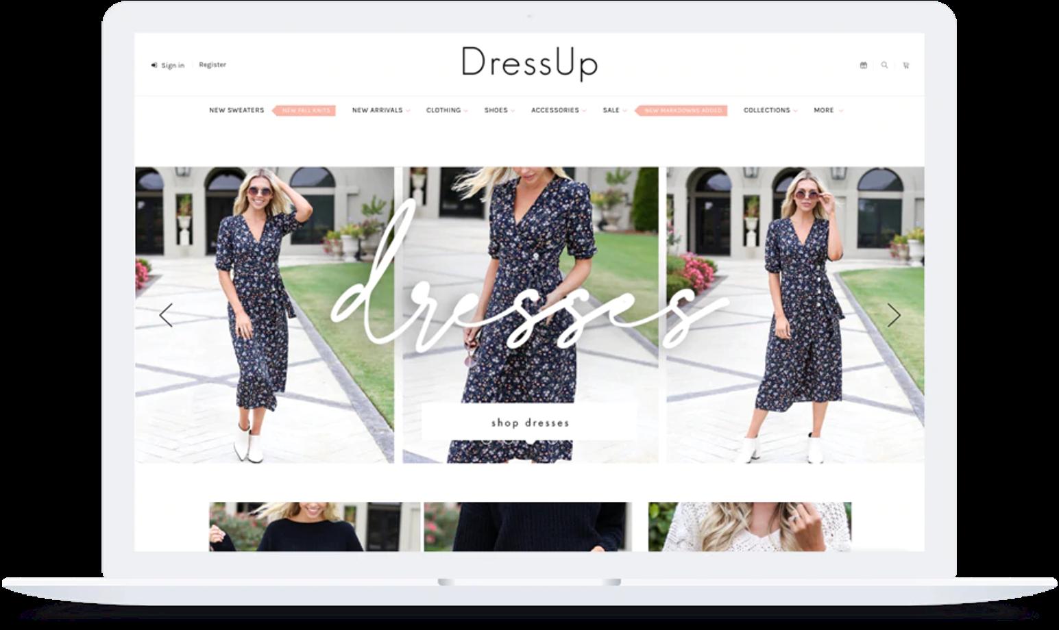 screenshot of DressUp's BigCommerce site