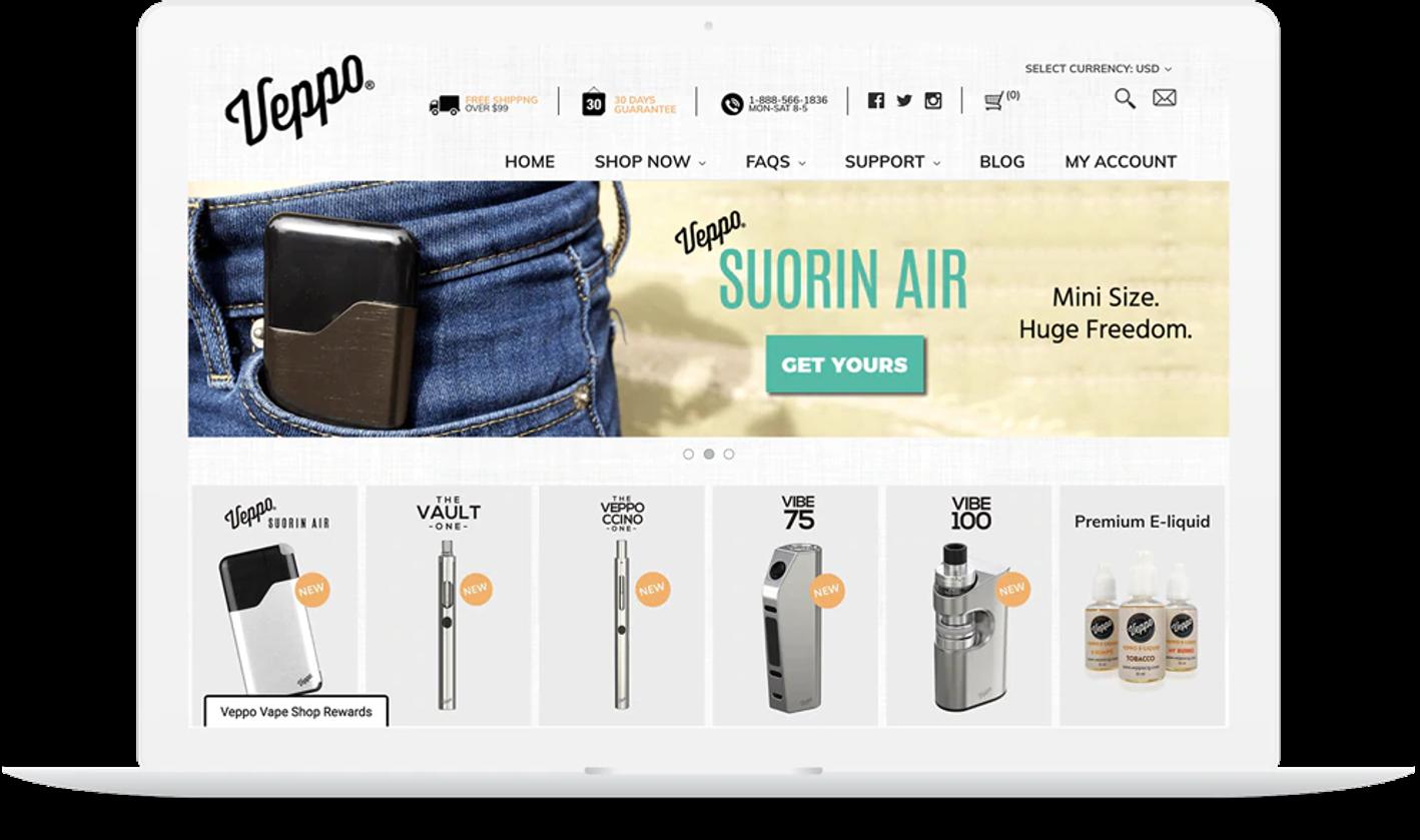 screenshot of Veppo Vape Shop's BigCommerce site