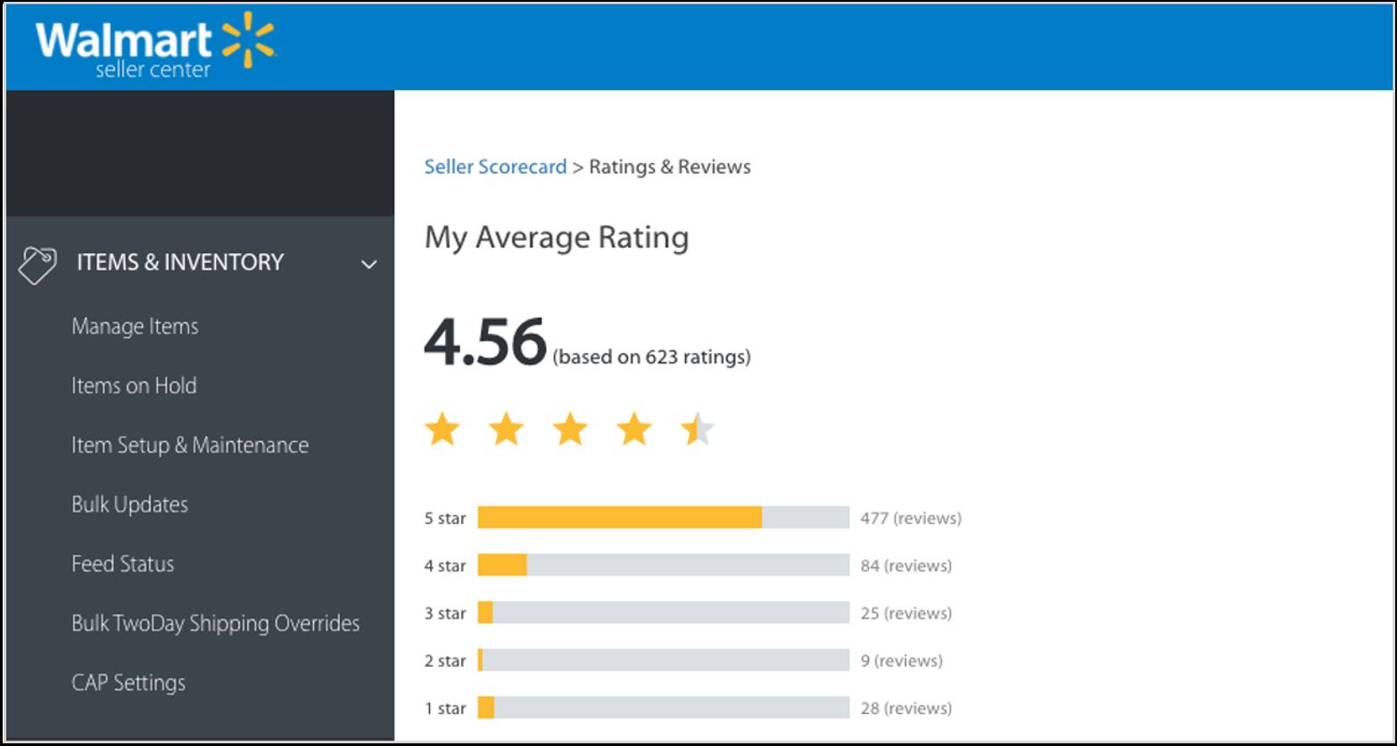 screenshot of seller scorecard in walmart seller center