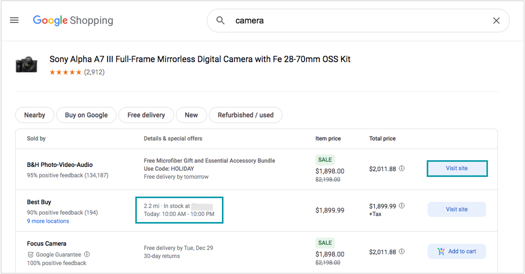 screenshot of google shopping checkout options