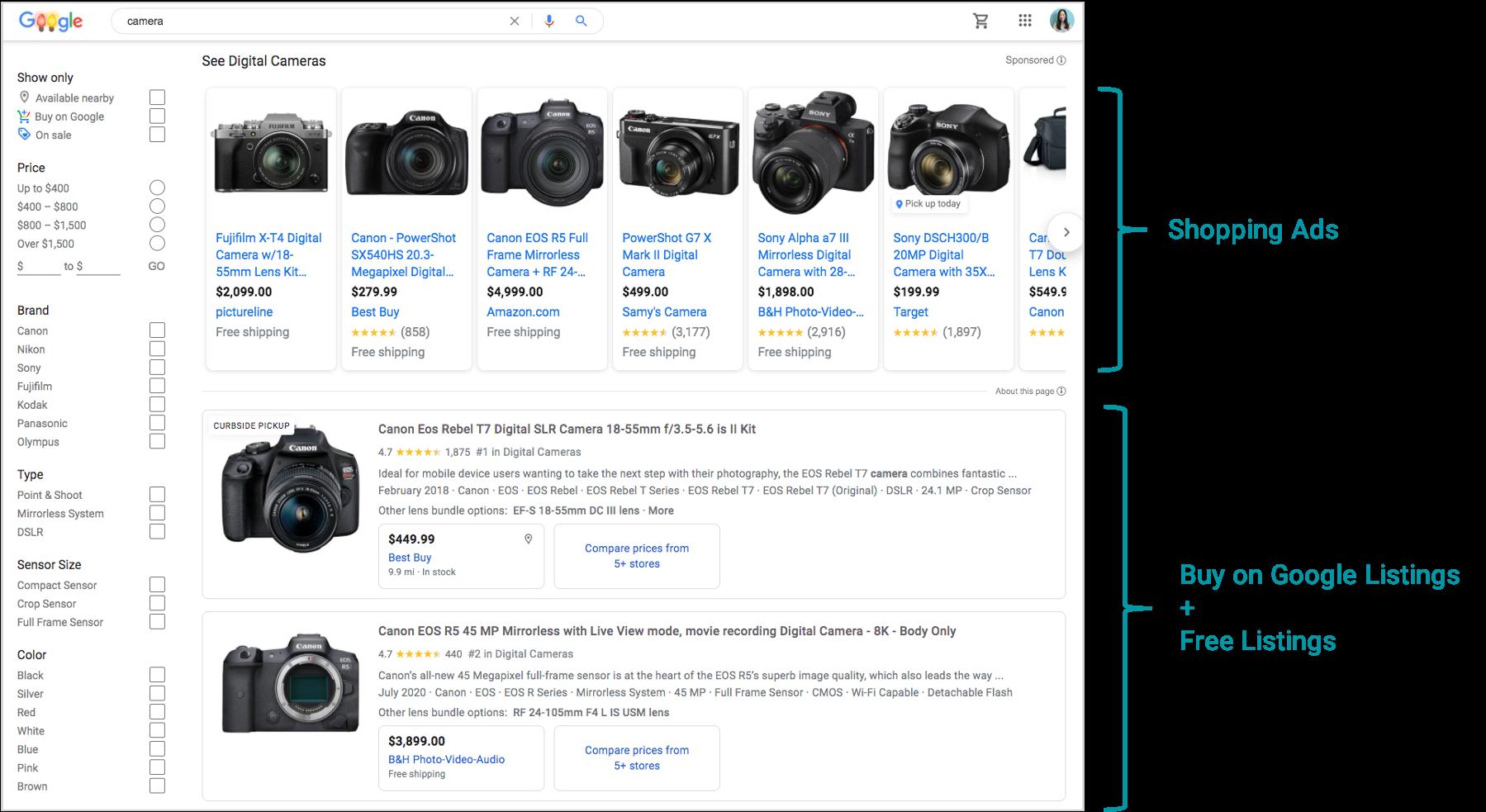 screenshot of google shopping placements