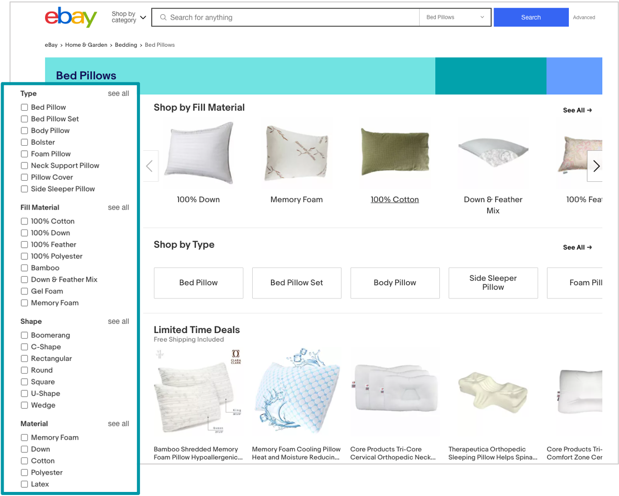 screenshot of ebay filter bar