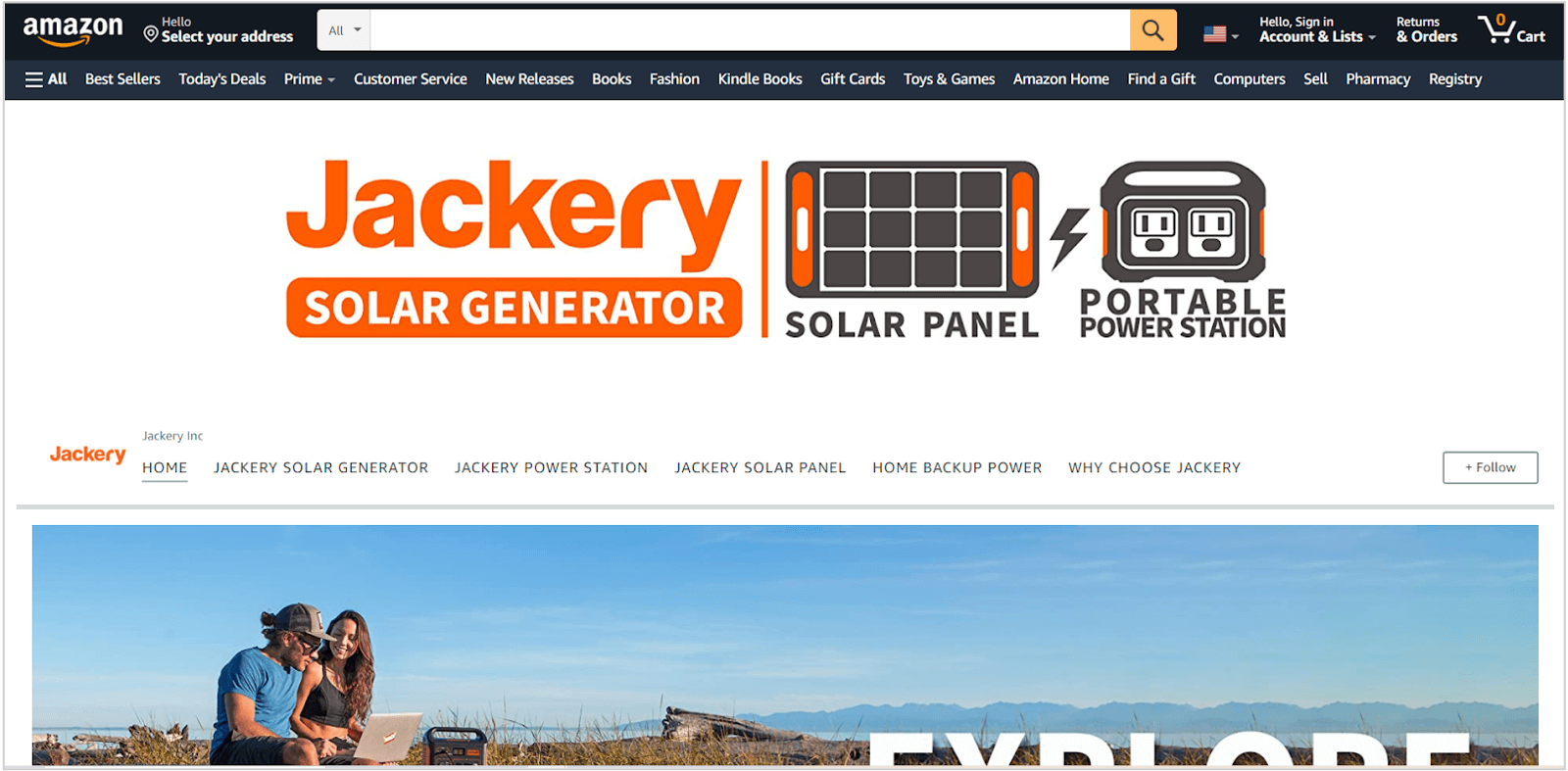 screenshot of jackery amazon store