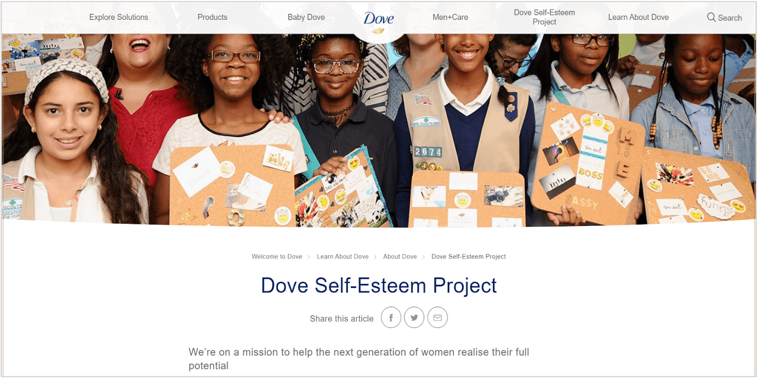 dove homepage showing its brand purpose