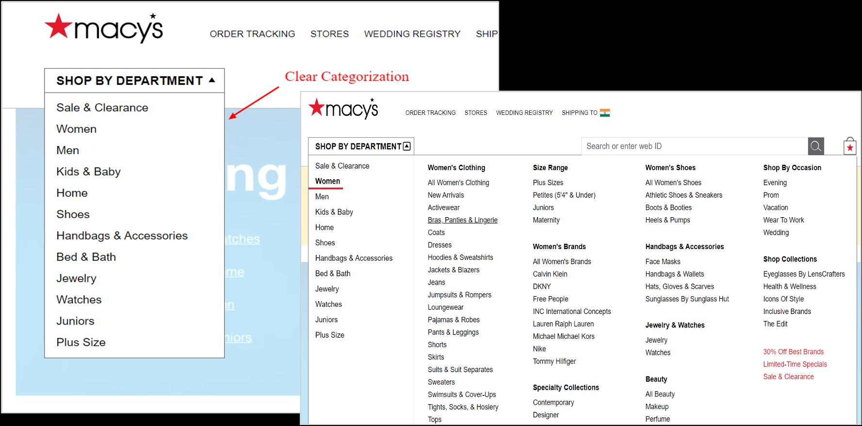 navigation menu on macys.com
