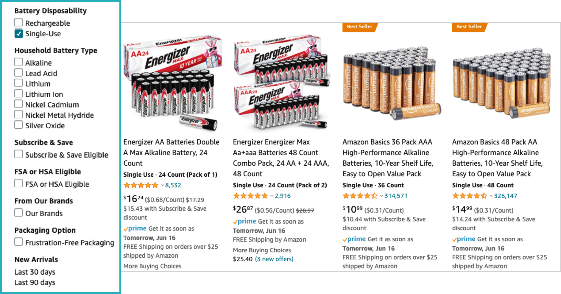 amazon filter menu on batteries result page