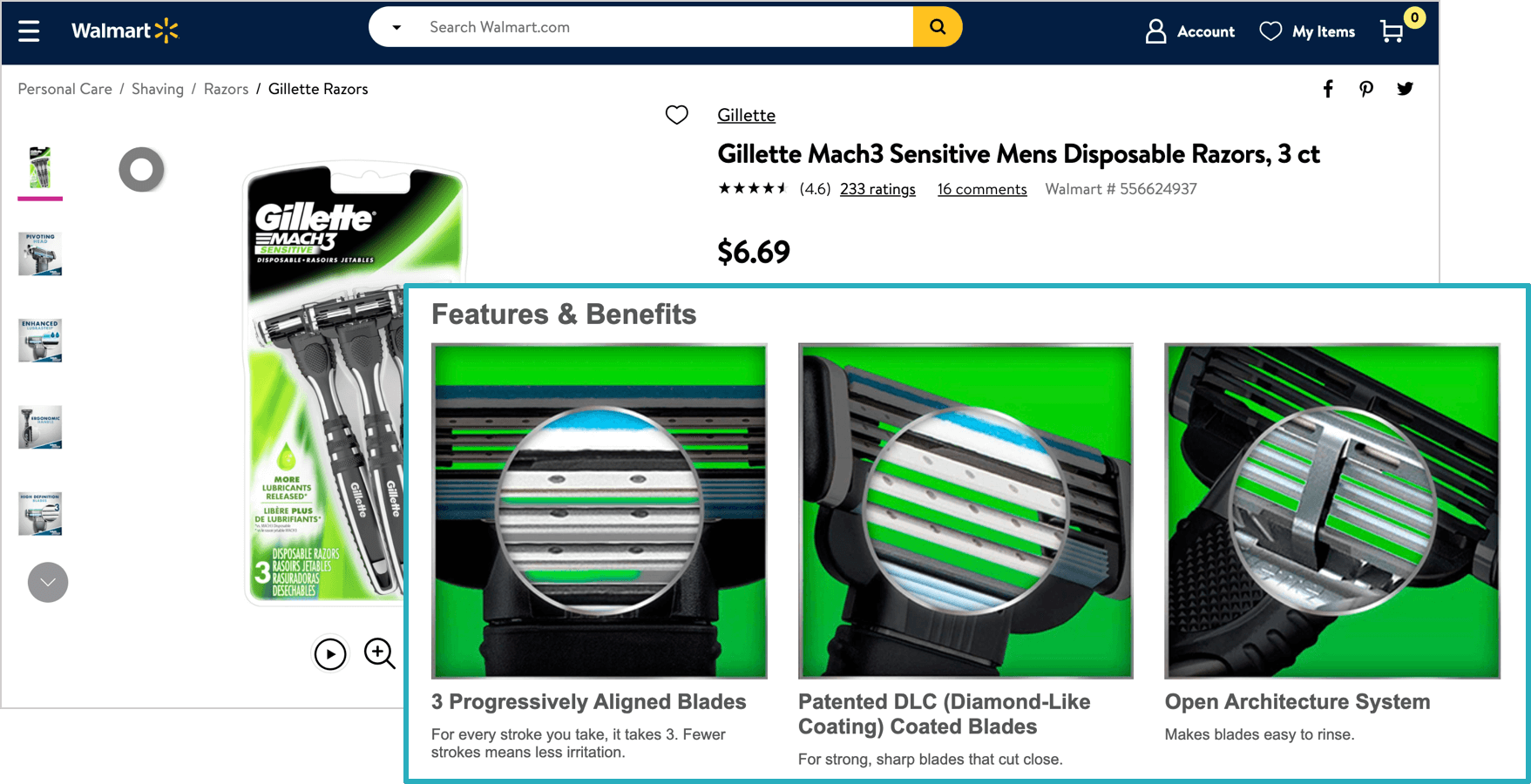 Gillette's Walmart Listing with enhanced content