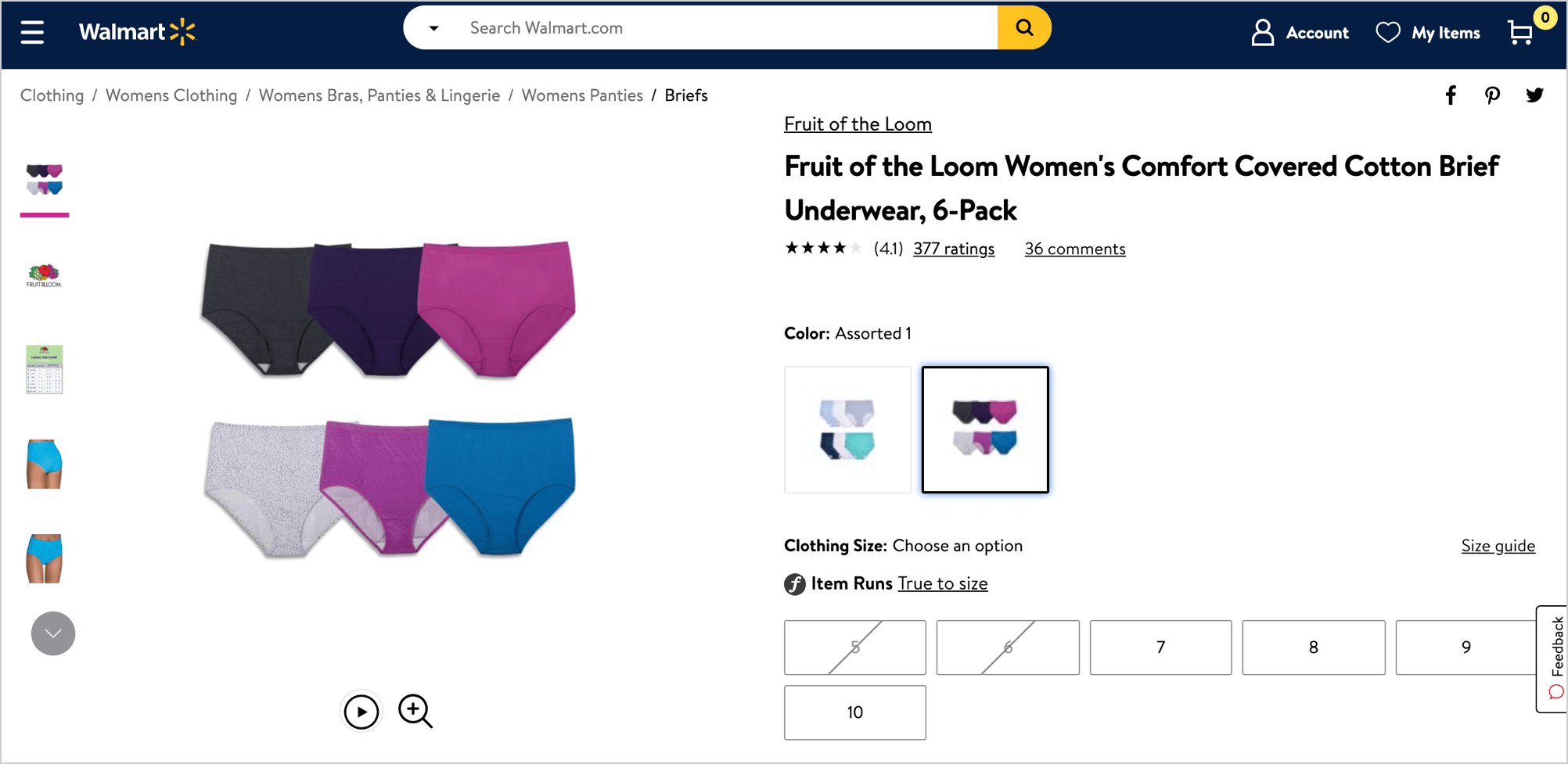 Fruit of the Loom's Walmart listing with high-quality variant images