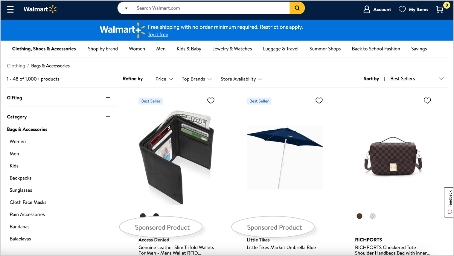 example of walmart sponsored products on category page