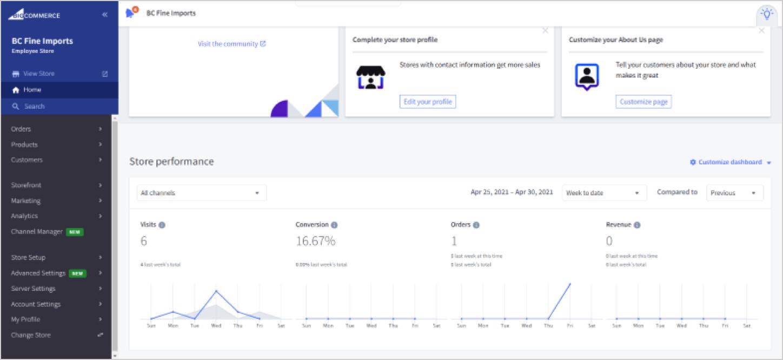 screenshot of bigcommerce dashboard