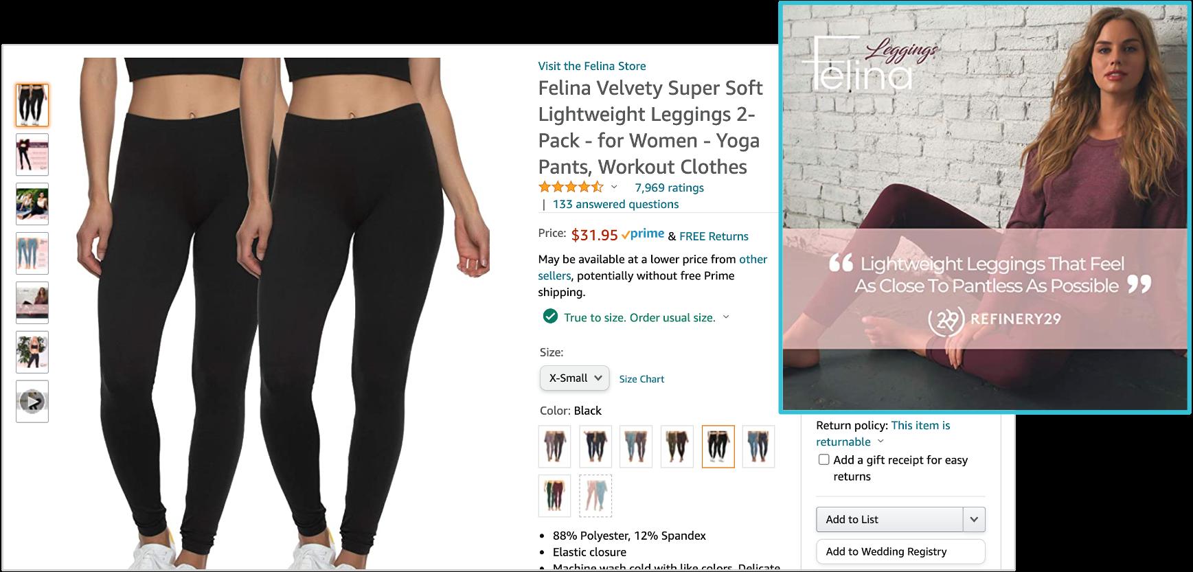 screenshot of amazon listing