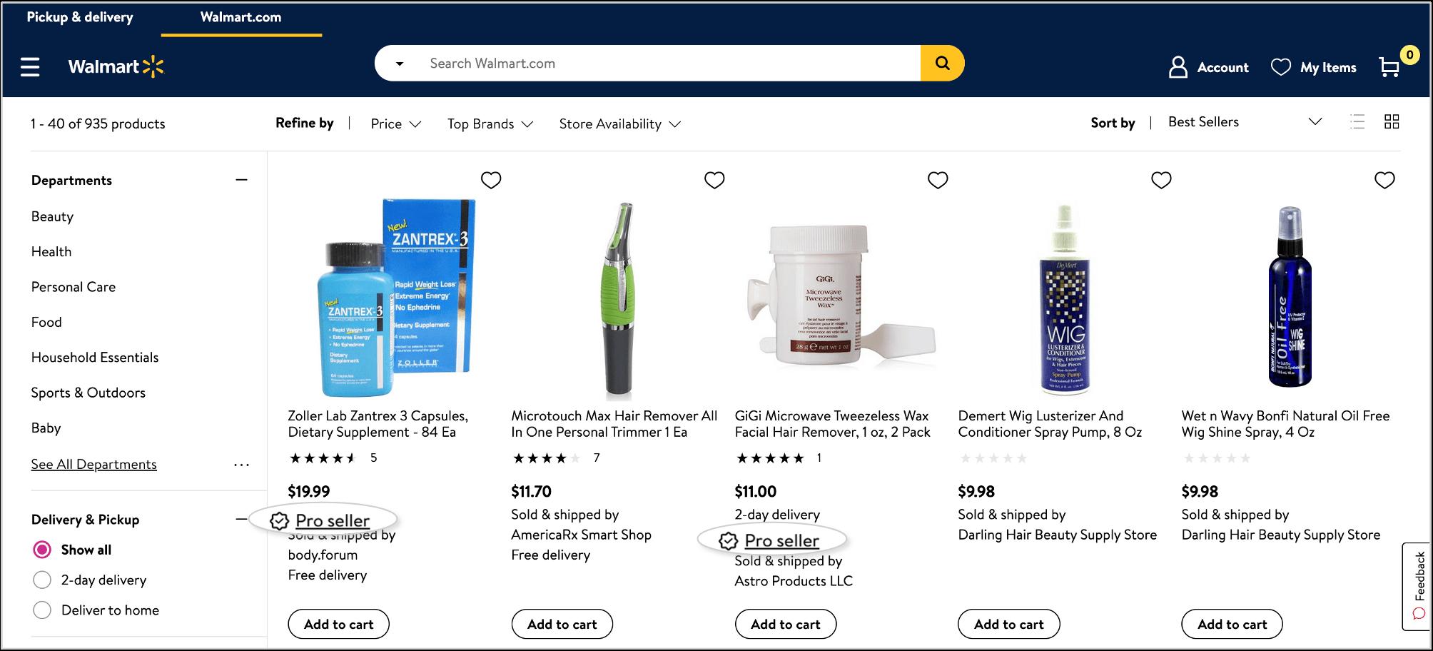 screenshot of walmart pro seller badges
