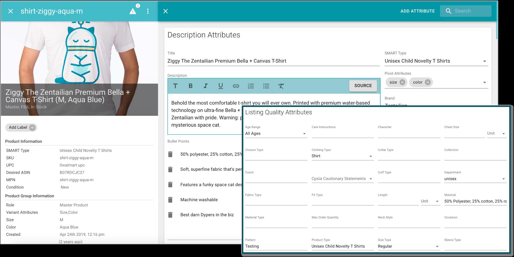 screenshot of zentail catalog edit