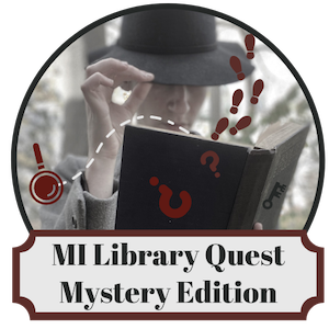 MiLibraryQuest logo with mysterious figure holding an open book with footprints and question marks falling out.