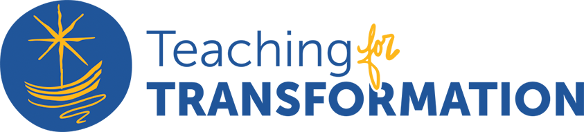 Teaching for Transformation blue and gold logo