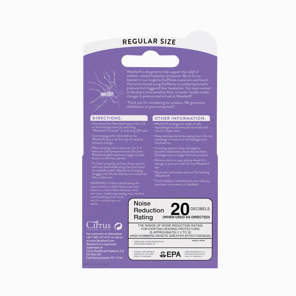WeatherX Packaging back details