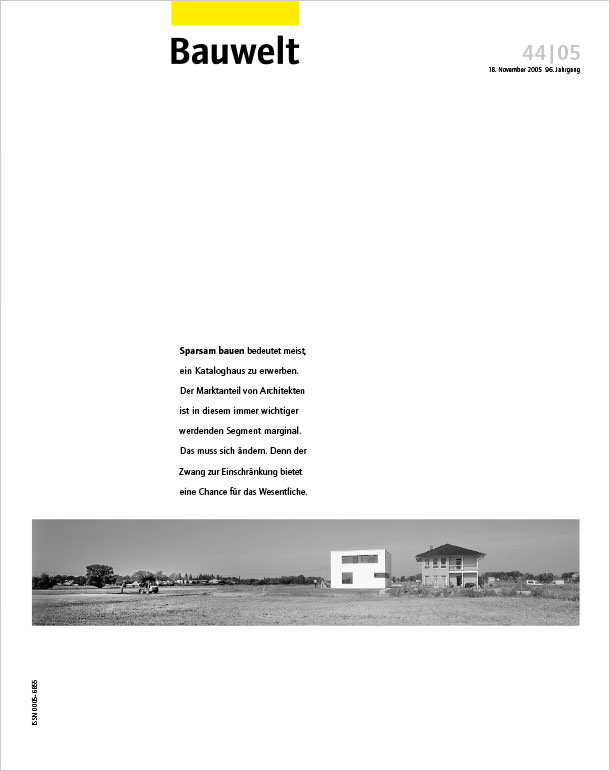 Titelseite Bauwelt 44/2005