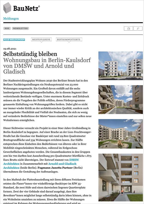 Screenshot BauNetz-Meldung