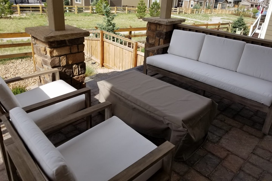 upholstery cleaning furniture on a patio