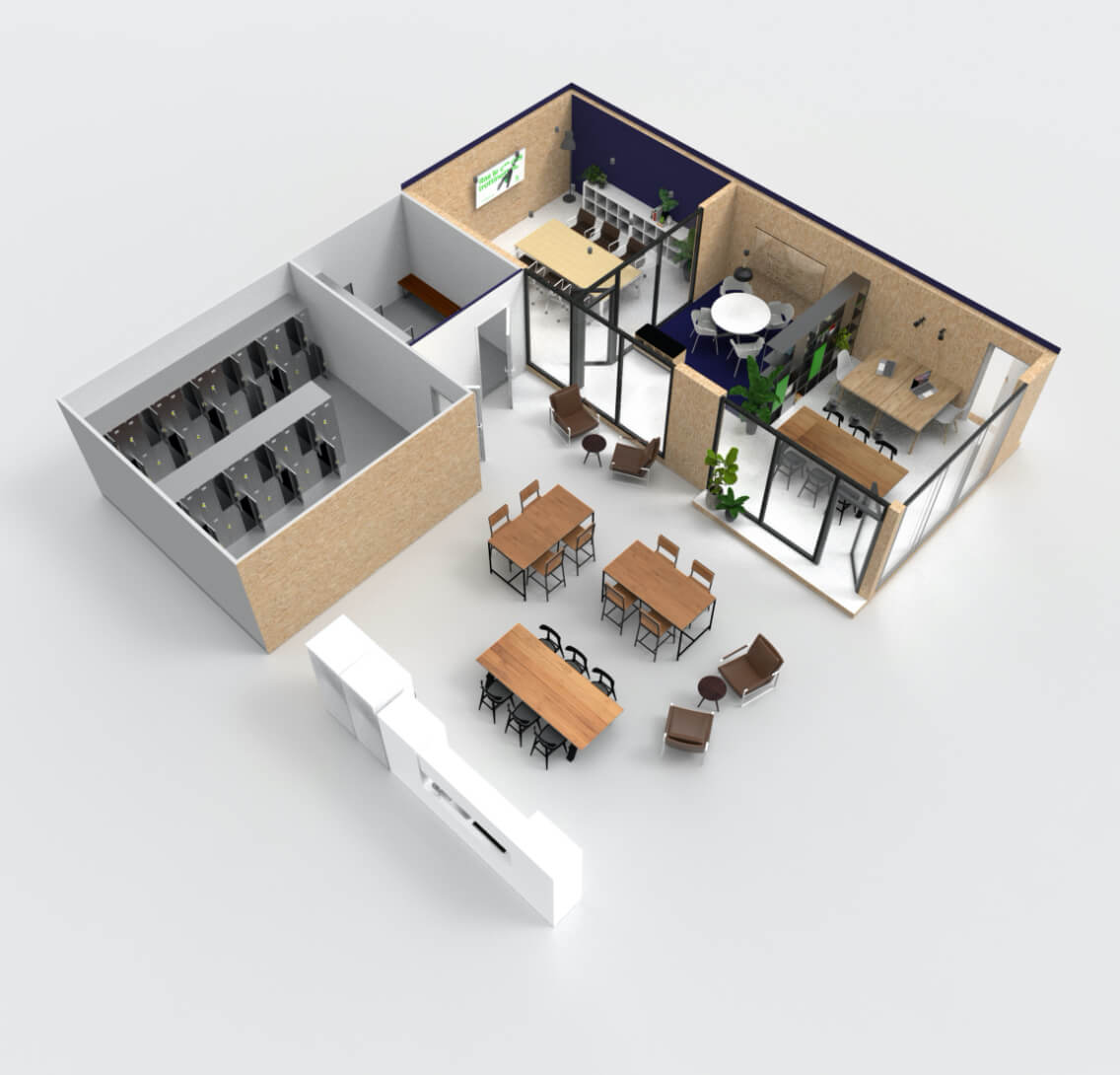 3D rendering of office layout
