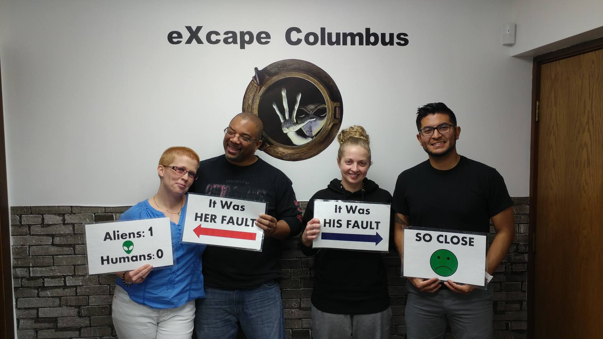 participants after a fun time n the client room at escape columbus near westerville ohio