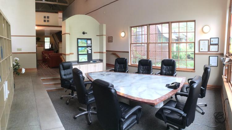 the salt mines coworking space with table and office chairs